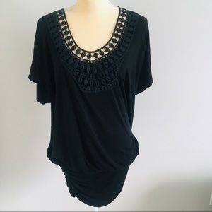 Arden B Black Crochet Neckline Tunic Top Size  L